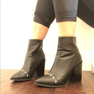 Nasty Gal Black Heeled boots with stars